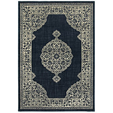 "Oriental Weavers Linden 7937A Navy/Gray 2'3"" x 7'6"" Runner Area Rug"