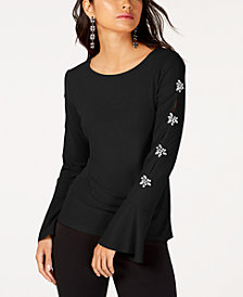 I.N.C. Petite Embellished Sleeve Top, Created for Macy's