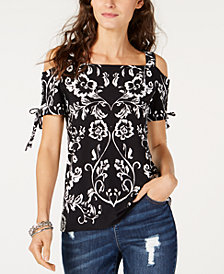 I.N.C. Tie-Sleeve Cold-Shoulder Top, Created for Macy's