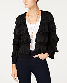 I.N.C. Open-Front Fringe Cardigan, Created for Macy's