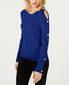 I.N.C. Cold-Shoulder Button Sweater, Created for Macy's