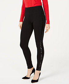 I.N.C. Sequin-Trim Pull-On Ponte Pants, Created for Macy's