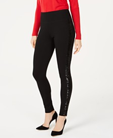INC Petite Sequin-Trim Pull-On Ponte Pants, Created For Macy's
