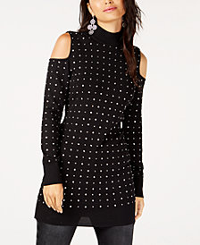 I.N.C. Rhinestone Studded Cold-Shoulder Tunic Sweater, Created for Macy's