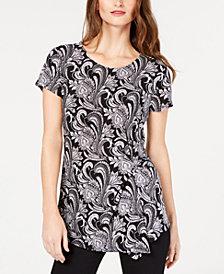 I.N.C. Printed Asymmetrical Twist Top, Created for Macy's