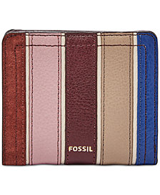 Fossil Logan Bifold Leather & Suede Striped Wallet