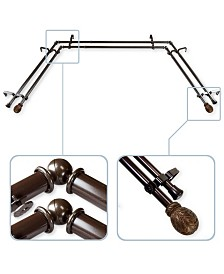 """Forest 13/16"""" Bay Window Double curtain rod 20""""-36"""", 38""""-72"""""""