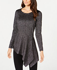 Alfani Petite Metallic Asymmetrical Top, Created for Macy's