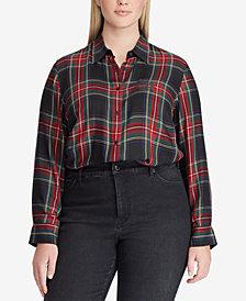 Lauren Ralph Lauren Plus Size Twill Tartan Shirt