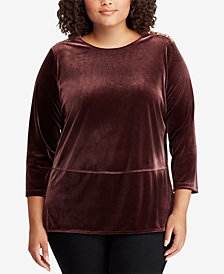 Lauren Ralph Lauren Plus Size Velvet Georgette Top