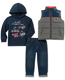 Kids Headquarters Baby Boys 3-Pc. Vest, Hooded Top & Jeans Set
