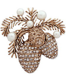 Anne Klein Gold-Tone Pavé & Imitation Pearl Pine Cone Pin, Created for Macy's