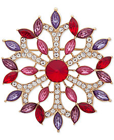 Anne Klein Gold-Tone Crystal & Stone Flower Pin, Created for Macy's
