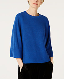 Eileen Fisher 3/4-Sleeve Flared Sweater, Regular & Petite