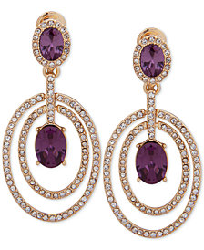 Anne Klein Gold-Tone Pavé & Stone Orbital E-Z Comfort Clip-On Drop Earrings
