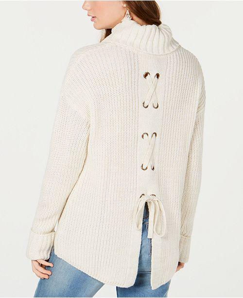 American Rag Juniors  Lace-Up Turtleneck Sweater 2c5f9702c