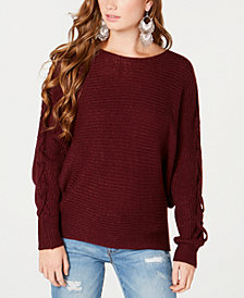 American Rag Juniors' Lace-Up-Sleeve Sweater, Created for Macy's
