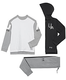 Under Armour Big Boys Rival Full-Zip Hoodie, Graphic-Print T-Shirt & Jogger Pants