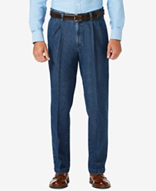 Haggar Men's Stretch Denim Classic-Fit Pleated Pants