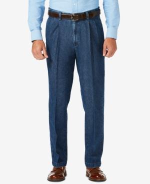 Men's Stretch Denim Classic-Fit Pleated Pants