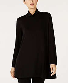 Eileen Fisher Tencel® Mock Turtleneck Long Tunic