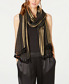 Eileen Fisher Metallic Wool Blend Tassel Scarf