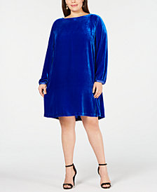 Eileen Fisher Plus Size Boatneck Velvet Dress