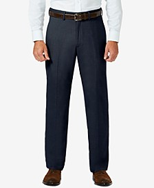 J.M. Sharkskin Classic-Fit Flat Front Hidden Expandable Waistband Dress Pants