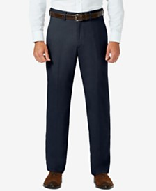 J.M. Haggar Sharkskin Classic-Fit Flat Front Hidden Expandable Waistband Dress Pants