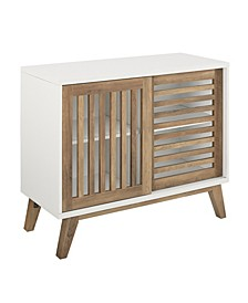 36 inch Sliding Slat Door Accent Console in White and Rustic Oak