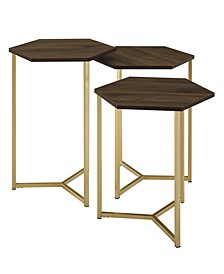 Set of 3 Hex Nesting Tables in Graphite and Gold