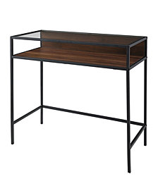 35 inch Metal and Wood Compact Desk wtih Glass in Dark Walnut