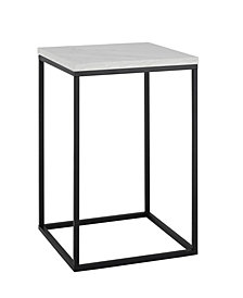 16 inch Open Box Side Table in Faux White Marble