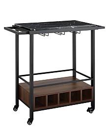 34 inch Black Faux Marble Serving Bar Cart with Dark Walnut Base