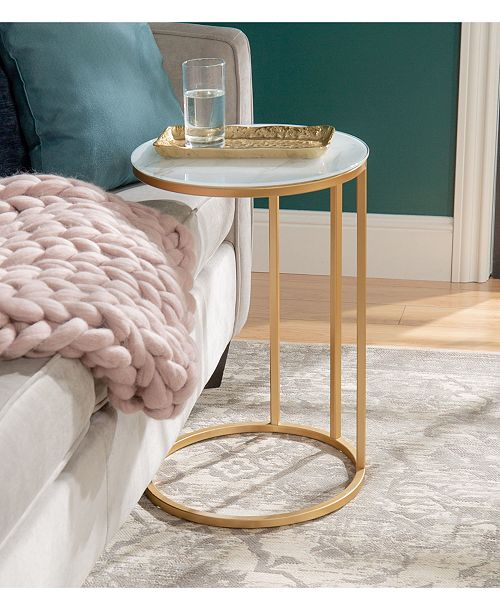 Walker Edison 16 Inch Round C Table With White Faux Marble Top And Gold Base Furniture Macy S