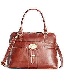 Giani Bernini Turn-Lock Glazed Dome Satchel, Created for Macy's