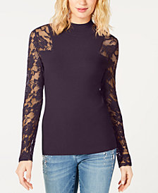 I.N.C. Petite Lace-Sleeve Sweater, Created for Macy's