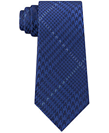 Michael Kors Men's Oversized Houndstooth Plaid Silk Tie