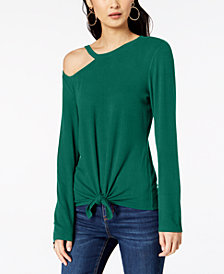I.N.C. Shoulder-Cutout Tie-Front Top, Created for Macy's