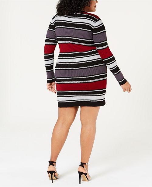 Planet Gold Trendy Plus Size Striped Sweater Dress Dresses Plus