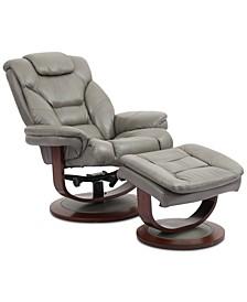 Faringdon Leather Euro Chair & Ottoman