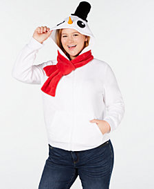 Planet Gold Trendy Plus Size Snowman Zip-Front Hoodie