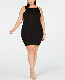 Soprano Trendy Plus Size High-Neck Bodycon Dress