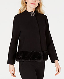 JM Collection Faux-Fur Trim Sweater Jacket, Created for Macy's