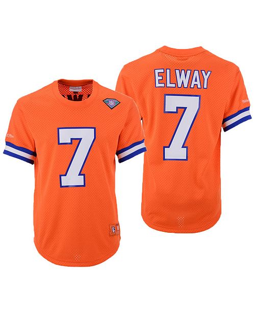 new arrivals c7065 80e92 Men's John Elway Denver Broncos Mesh Name and Number Crewneck Jersey