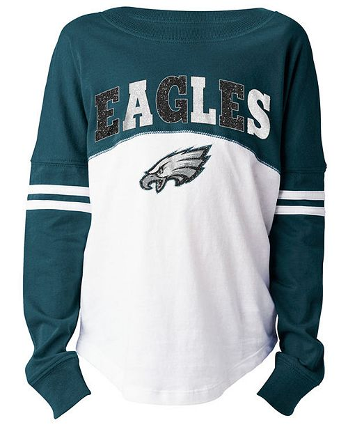quality design 9e829 89984 5th & Ocean Philadelphia Eagles Slub Long Sleeve T-Shirt, Girls