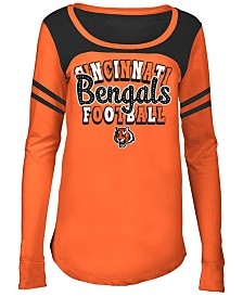 5th & Ocean Cincinnati Bengals Sleeve Stripe Long Sleeve T-Shirt, Girls (4-16)