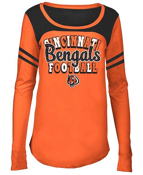 5th & Ocean Cincinnati Bengals Sleeve Stripe Long Sleeve T-Shirt, Girls (4-16)