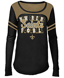 5th & Ocean New Orleans Saints Sleeve Stripe Long Sleeve T-Shirt, Girls (4-16)