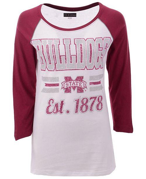 5th & Ocean Women's Mississippi State Bulldogs Team Stripe Raglan T-Shirt
